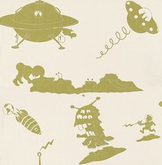 The Final Frontier Cream and Green wallpaper by PaperBoy