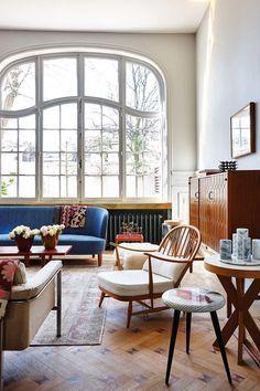 Wohnzimmer Im Modernen Midcentury Look
