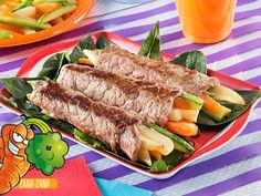 Rollo de bistec con verduras