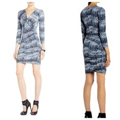 Ruched Dress Long sleeves, ruched, quite flattering! BCBGMaxAzria Dresses Long Sleeve