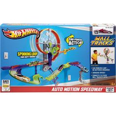 Kayden would LOVE this! Hot Wheels Wall Tracks Auto Motion Speedway Play Set $19.97