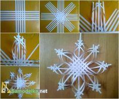 объемная снежинка из  бумаги схема