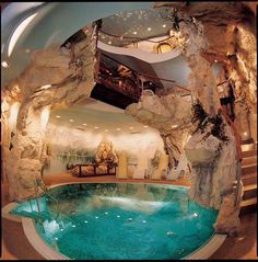 Modern House Design & Architecture : Cave house with Cave Pool OMG ! Cave Pool, Luxury Pools, Unusual Homes, Dream Pools, Cool Pools, Awesome Pools, House Goals, Pool Designs, Resort Spa