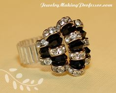 Weave together Swarovski bicone and rondell beads to create this beautiful ring.