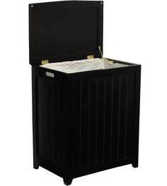 Add the Wooden Laundry Hamper to your household so you can store dirty clothing while concealing the laundry from view.