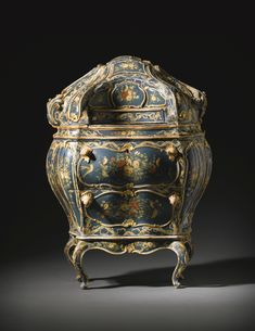 An Italian polychrome and blue lacquered, parcel-gilt and 'a merletto' decorated carved bureau, Venetian mid 18th century