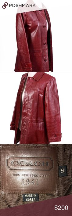 Authentic Coach leather jacket size small Beautiful brick red color. Quilted interior. Front hip pockets. Interior chest pocket. Includes original receipt. Natural wear to leather. Colors may vary slightly to lighting and photos. No holes, rips or stains. Measurements approximately as shown. ❌Smoke and pet free home. ⚡️Same/next day shipping. 💲Save by bundling or make a reasonable offer through the offer button. 🚫No holds, trades or modeling. 📦Wrapped and shipped with care. Coach Jackets…