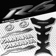 "(Advertisement eBay) CHROME/BLACK PRO GRIP FUEL TANK PAD+8"" YAMAHA LOGO+YZF-R6 FAIRING EMBLEM STICKER"