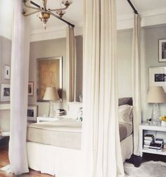 this is what Mom meant when she said you could use curtain rods to create a canopy bed. DIY canopy bed with curtain rods House Design, Canopy Bed Diy, House, Home, Modern Bedroom Design, Home Bedroom, House Interior, Bedroom Inspirations, Modern Bedroom