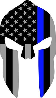 """Subdued US Flag Spartan Helmet Reflective Decal with Thin Blue Line (8""""x4.5"""") Yeti Signs http://www.amazon.com/dp/B014GLT8OW/ref=cm_sw_r_pi_dp_XVi4wb17VEDMW"""