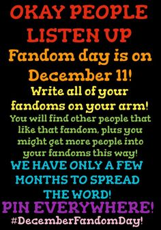 December 11 is Fandom Day! Write your fandoms on your arm! Spread the word! Creepypasta, Pokemom Go, Jorge Ben, J Hope Gif, The Mother Of Dragons, Kevedd, The Wombats, Jenifer Lawrence, Johny Depp