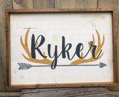 Rustic Large Nursery Name Arrow and Antlers by WehuntWoodDecor