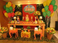 Decoração de Festa Infantil Tema Sitio do Pica Pau Amarelo Balões de Festa Festa Infantil  Mesa de Doces Bolo de Aniversário