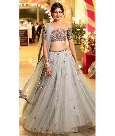 Two Piece Prom Dresses Scoop Floor-length A-line Tulle Sparkly Long Prom Dress - Designer Dresses Couture Indian Lehenga, Red Lehenga, Lehenga Choli, Anarkali, Patiala Salwar, Indian Wedding Outfits, Bridal Outfits, Wedding Attire, Wedding Dresses