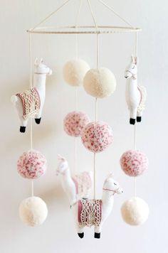 lama-kindergarten-mobile-lama-mobile-lama-lama-kindergarten-boho-baby-kindergarten-boho-kindergarten-pom-pom-made-to-order/ - The world's most private search engine Boho Nursery, Girl Nursery, Nursery Decor, Nursery Crafts, Bathroom Crafts, Room Decor, Felt Crafts, Diy And Crafts, Kids Crafts