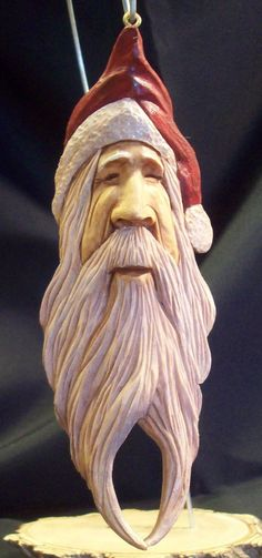 Hand Carved Old Wold Santa Ornament  (267)