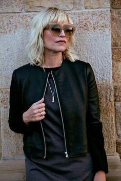 Leather jackets are HUGE for fall! This one is a little different as we've played with some texture, adding the wool to the sleeve. Gives a little twist on the classic leather jacket