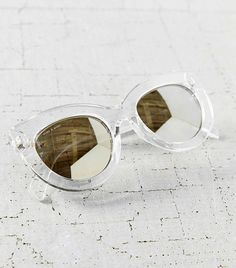 Quay X Shay Mitchell Jinx Cat-Eye Sunglasses in Clear // Clear sunglasses with reflective lenses