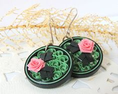 Hoop earrings Unique jewelry Round earrigs from paper