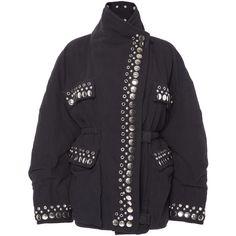 Isabel Marant Emmetis Stud Embellished Jacket ($2,335) ❤ liked on Polyvore featuring outerwear, jackets, utility jacket, isabel marant jacket, studded jacket and isabel marant