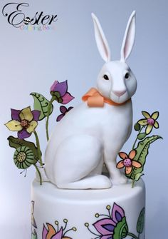 The White Rabbit- Easter Coloring Book Cake