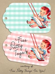 Packaging: Free Pretty Vintage Girl Tags