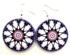 Cottage chic earrings, decoupage mandala by JewelryByJolanta, $18.00