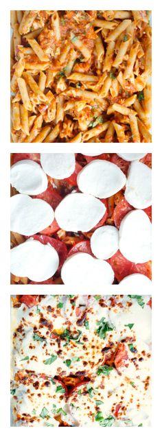 Fresh Garden Tomatoes Caprese Pasta Bake | reluctantentertainer.com