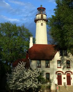 Grosse Pointe Lighthouse. Evanston, Illinois. Built: 1873 Automated: 1935 Decommissioned: 1941.  It is located next to Northwestern University and is currently operated as a nature center and maritime museum by the City of Evanston.