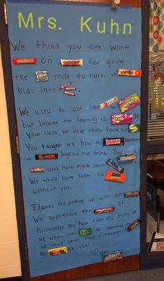 Candy bar teacher appreciation door!