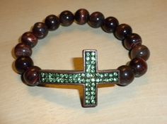 Tigers eye with green pave cross by WendelDesigns on Etsy, $29.50