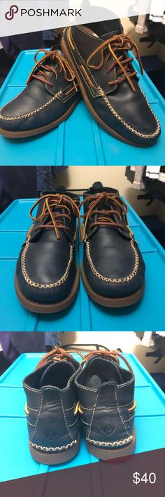 Sperry A/O Wedge Chukka Sperry A/O Wedge Chukka - Navy Size 9.5 M Condition 9/10  Worn only 4 to 5 times  Little bit of scuffing on the sole but nothing too noticeable. It's a confortable shoe that will keep you dry and warm. Sperry Shoes