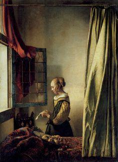 A Girl Reading a Letter by  an Open Window  (Brieflezend Meisje bij het Venster)  c. 1657  Staatliche Kunstsammlungen, Gemäldegalerie, #Dresden -   #Art