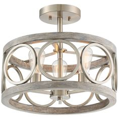 Add a rustic touch to a room with this farmhouse ceiling light in brushed nickel and gray wood finishes. wide x high. Canopy is wide x high. Cage is wide x 7 high. Style # at Lamps Plus. Coastal Light Fixtures, Entryway Light Fixtures, Farmhouse Light Fixtures, Entryway Lighting, Coastal Lighting, Farmhouse Lighting, Ceiling Light Fixtures, Ceiling Lights, Beach Lighting