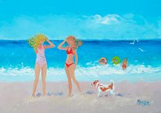 Beach scenes, whimsical art, Beach decor, beach painting, beach house style, coastal living, beach home interiors, beach house decorating,