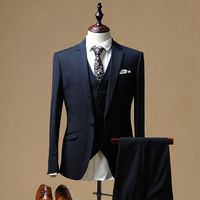 Mens Tuxedos Business Suits With Pants Grooms Slim Wedding Suit Navy Blue Jacket Pants Vest L32