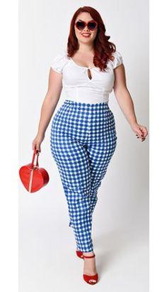 Collectif Plus Size Blue Painted Gingham Bonnie High Waist Cigarette Pants