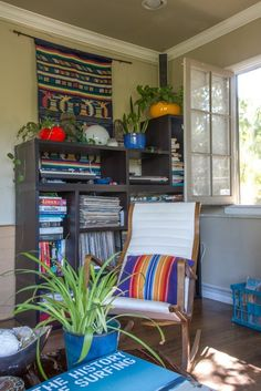 Search terms for shopping, rocking chair, pillows, plant life, planters, wall art & tapestries, etc. Revisiting Scott's California Bohemian — House Tour | Apartment Therapy