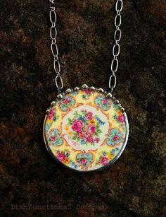Broken china jewelry Parisian roses circle by dishfunctionldesigns