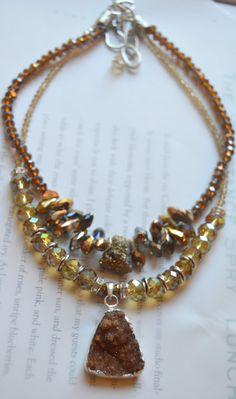druzy necklace citrine necklace boho chic necklace bohemian