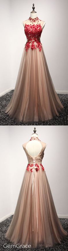 Long halter open back tulle prom dress