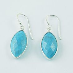 Turquoise Semi Precious Real Cut Stone Earrings 925 Handmade Sterling Silver #SilvexImagesIndiaPvtLtd #DropDangle