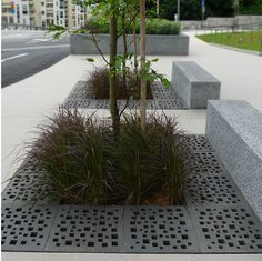 Integrated tree grates and benches. Click image fro more examples and  Summit Bechtel Scout Reserve adjacent to the New River Gorge in West Virginia Nelson Byrd Woltz   Landscape Architects. Stairs and walkways connect a multi-purpose complex in Coslada near Madrid, Spain. Click image for more examples and visit the slowottawa.ca boards >> http://www.pinterest.com/slowottawa/boards/