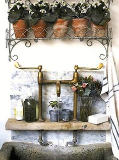 Rustic garden sink for potting shed or greenhouse. Decor, Home And Garden, Garden Room, Outdoor Sinks, French Cottage, Home, Cottage Design, Garden Sink, Garden Inspiration