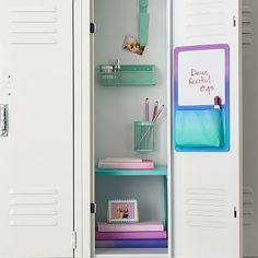 Organize your locker make it unique with Pottery Barn Teen's locker decorations. Find locker shelves and locker accessories to give your locker a boost of personality and style. Girls Locker Ideas, Cute Locker Ideas, School Locker Decorations, Diy Locker, Decorated School Lockers, Locker Stuff, Middle School Lockers, Middle School Supplies, Middle School Hacks