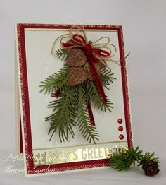 This lovely sprig is made from the Pine Pair and the Pine Sprig Cluster dies. Distress inks are used to highlight the texture on these realistic pine cones. Christmas Paper Crafts, Homemade Christmas Cards, Christmas Cards To Make, Noel Christmas, Christmas Greeting Cards, Christmas Greetings, Greeting Cards Handmade, Homemade Cards, Handmade Christmas