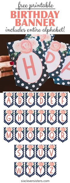 Free Printable Birthday Banner {Navy & Coral} - Six Clever Sisters Happy Birthday Logo, Happy Birthday Banner Printable, Free Printable Banner Letters, Happy Birthday Flower, Happy Mothers Day Banner, Mothers Day Decor, Mother's Day Banner, Diy Banner, Mother's Day Printables