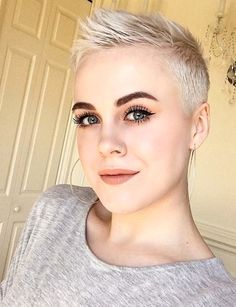 There is Somthing special about women with Short hair styles. I'm a big fan of Pixie cuts and buzzed cuts. Enjoy the man… - Top Trends Pixie Hairstyles, Short Hairstyles For Women, Pixie Haircut, Cool Hairstyles, Short Pixie, Short Hair Cuts, Pixie Cuts, Crop Hair, Super Short Hair