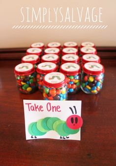 Hungry Caterpillar Party Favor Ideas - could even use smaller mason jars for the favors