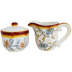 Duomo Blue Scroll Creamer and Sugar Bowl Set (93 BRL) ❤ liked on Polyvore featuring home, kitchen & dining, serveware, lidded bowl, blue sugar bowl, floral bowl, blue cups and dishwasher safe cups